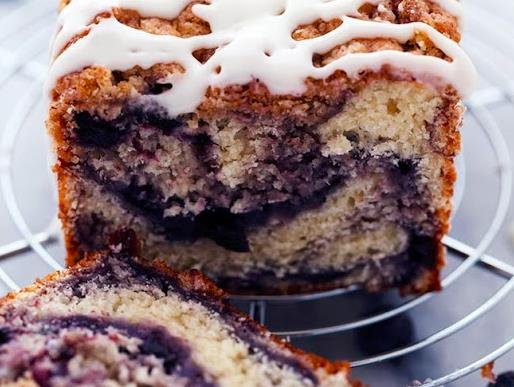 Blueberry Pie Muffin Bread with Lemon Glaze