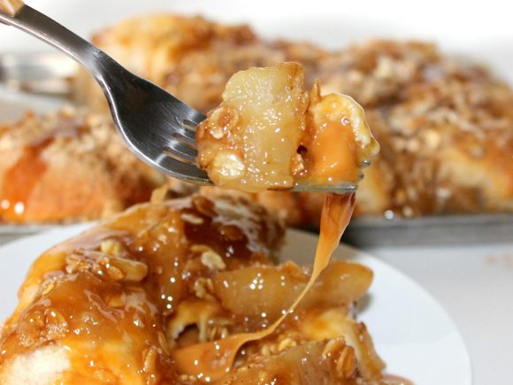 Caramel Stuffed Apple Crisp Biscuits