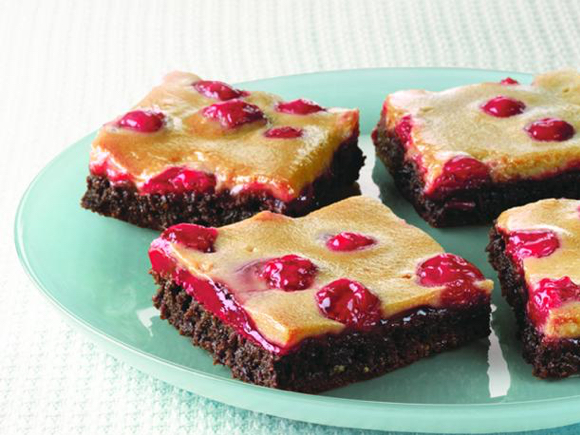 Cherry Glazed Chocolate Mousse Brownies