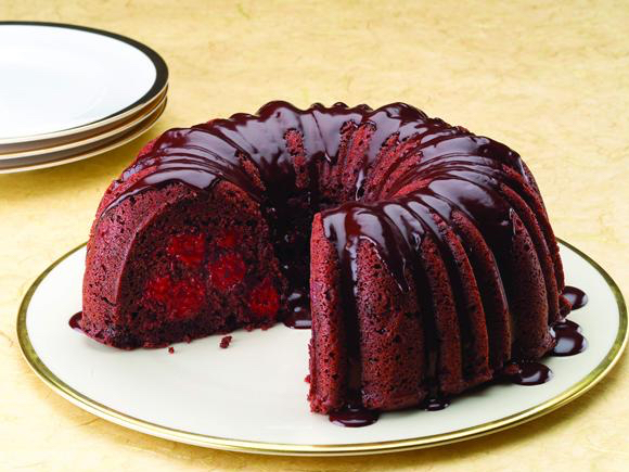 Chocolate Cherry Cake With Rum Ganache Lucky Leaf